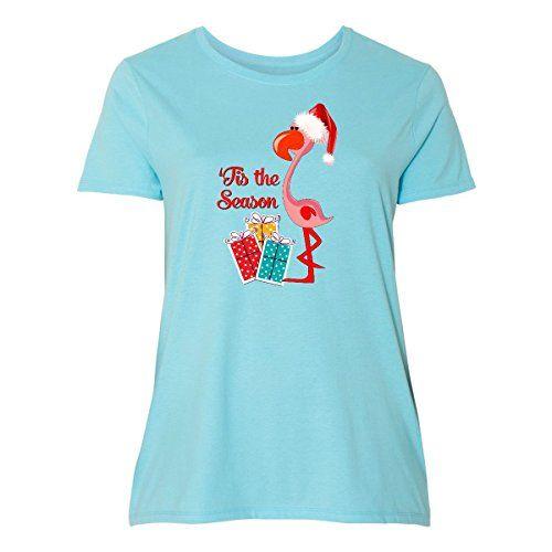 580e71f8f6d76 amazon - Inktastic - Christmas Flamingo Women s Plus Size T-Shirt ...
