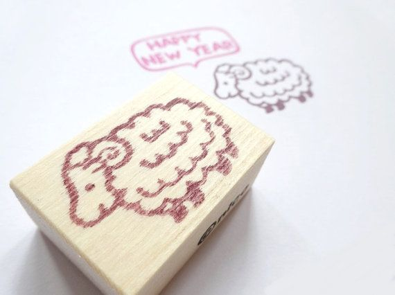 Sheep rubber stamp Animal decor Chinese by JapaneseRubberStamps