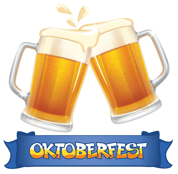 Oktoberfest Blue Banner And Beers Png Clipart Image Beer Glassware Beer Festival Oktoberfest