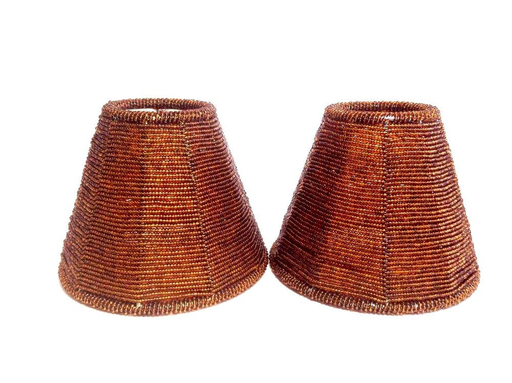 Amber Lamp Shades Gl Beaded Mini Clip On 4 Brown Chandelier Decor Pair Euc