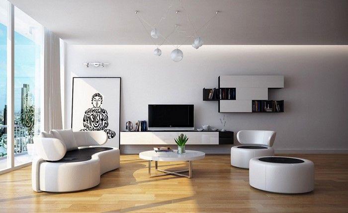 Wohnzimmer Gestalten Moderne Inneneinrichtung In Schwarz Und Weiss