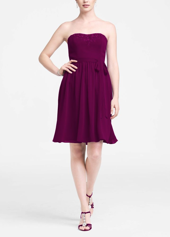 Short Strapless Crinkle Chiffon Bridesmaid Dress with Beaded Detail ...