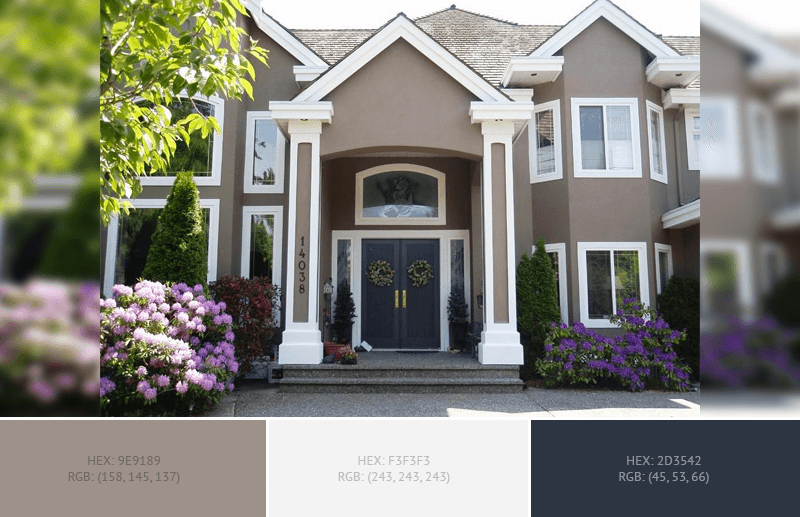 This Lovely House Exterior Has 3 Colors Combination With Grullo Anti Flash White And Gunmetal Exterior Paint Exterior Paint Color House Exterior