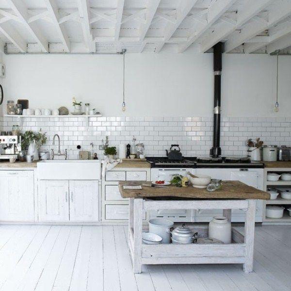 White Kitchen Vintage vintage klassisch mit dicken holz-arbeitsplatten