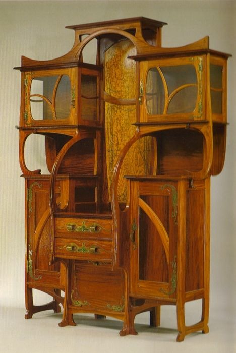 Amazing Art Nouveau piece, Gustave Serrurier-Bovy - Red narra and ash with copper and enamel mounts #artnouveau #furniture #wood