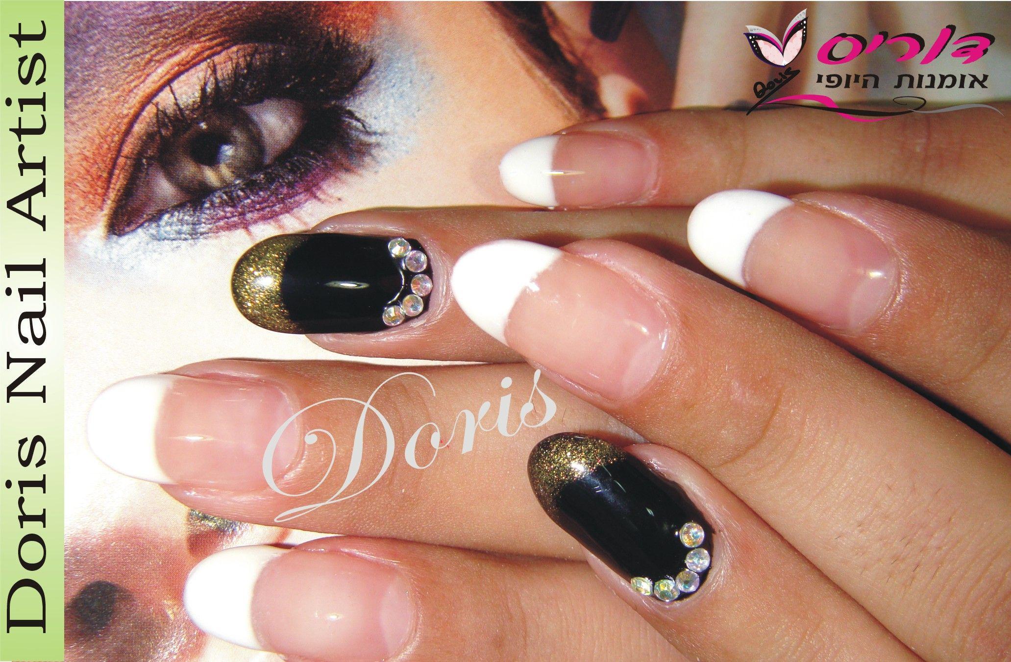 פרנץ לבן ציפורן שחור זהב ג'ל white gel nail art | Nail ...
