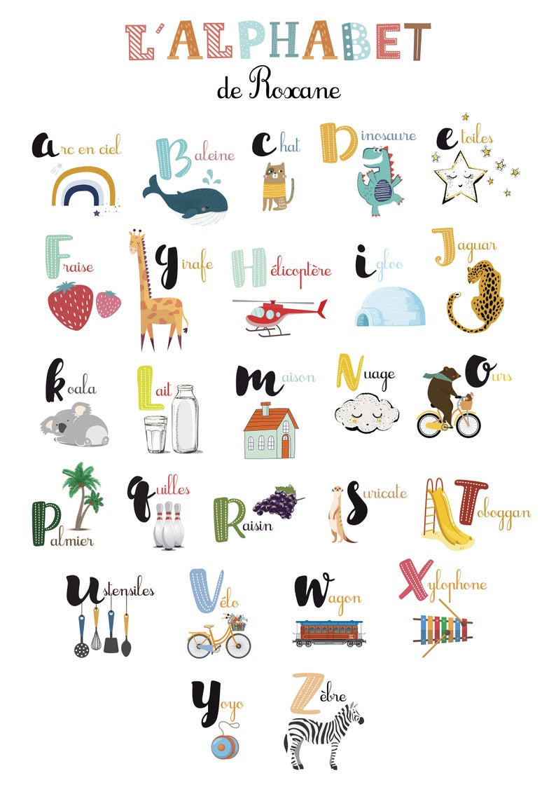 Personalized Child S Abbrender Poster With Your Child S First Name Ideal For Learning The Alphabet In A Fun Way Alphabet Poster French Alphabet Learning The Alphabet