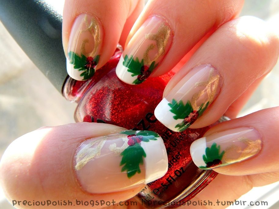 Christmas nails with holly by Precious Polish; (if you click through to go to her Tumblr page, she has a link for a video tutorial.)