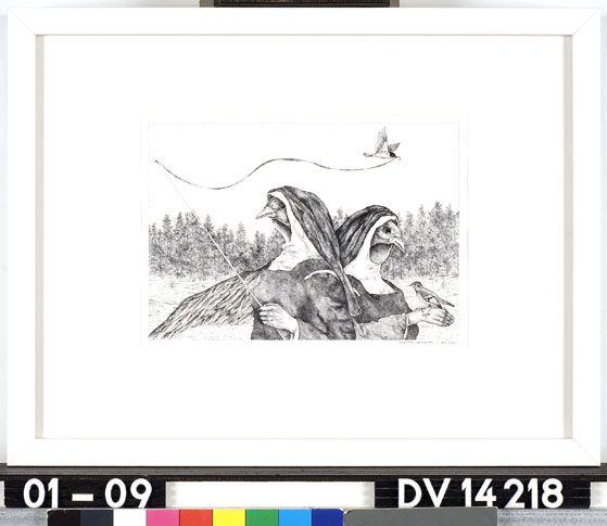 Vreedzame samenleving - A. Gouw - 1982  Maat: 16cm x 22,5cm  Materiaal: inkt op papier  Inventarisnummer: DV14218