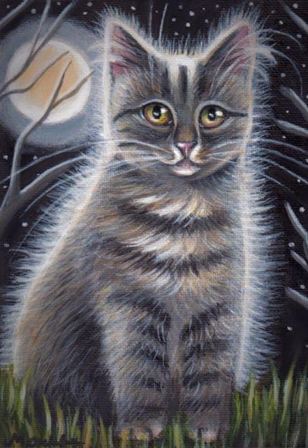 Gray Tabby Cat Kitten Halloween Moon Original 5x7 Art Painting By Marta Ebay Grey Tabby Cats Tabby Cat Grey Tabby Kittens