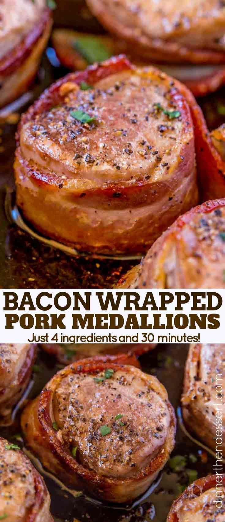 Bacon Wrapped Pork Medallions - Dinner, then Dessert Bacon Wrapped Pork Medallions are an impressiv