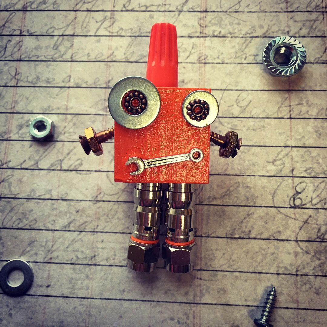 Mini magbot found object robot creative crafts