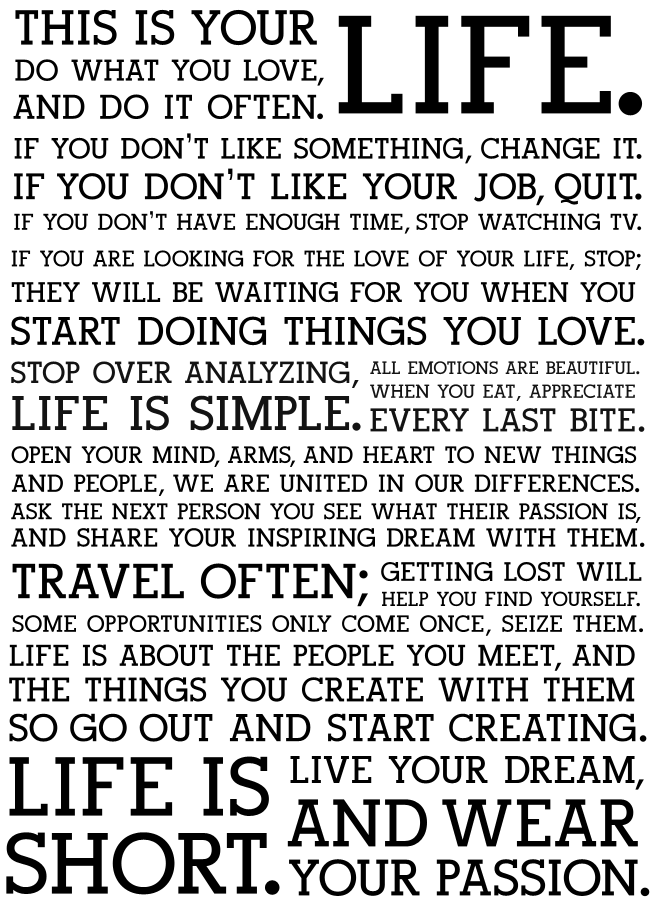This Is Your Life Poster : poster, Life., Love,, Often., Inspirational, Words,, Quotes