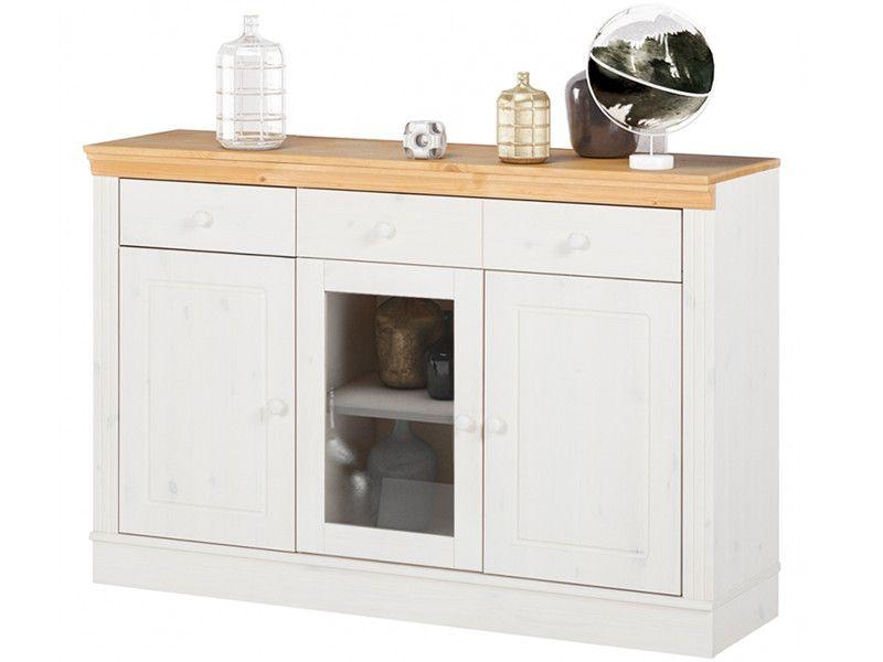 Sideboard ANGEL 3trg aus Kiefer massiv in weiß  honig Küche - esszimmer landhausstil