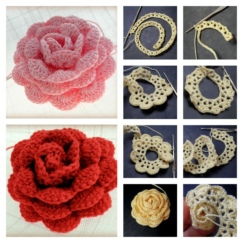 How To Crochet A Beautiful Lace Ribbon Rose Crochet Pinterest