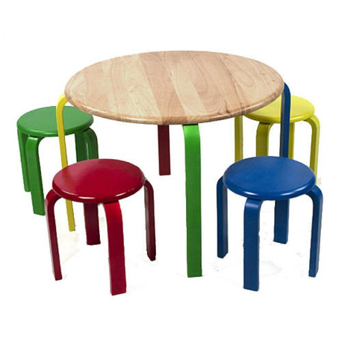 New Sale Lipper Child Solid Natural Wood Round Table 4 Colorful Stools