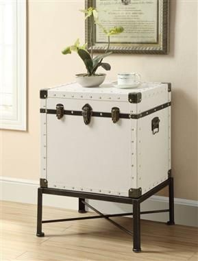 Coaster Furniture White Wood Storage Side Table Trunk Side Table