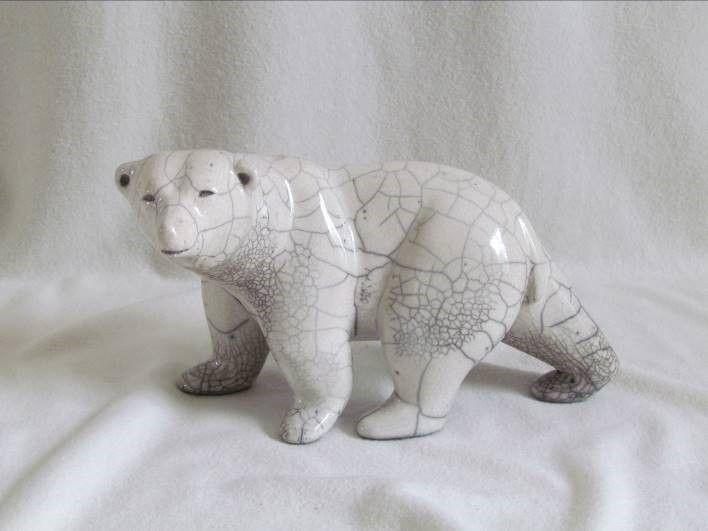 raku escultura del oso polar hechas a mano únicas credenciales originales Danièle Meyer