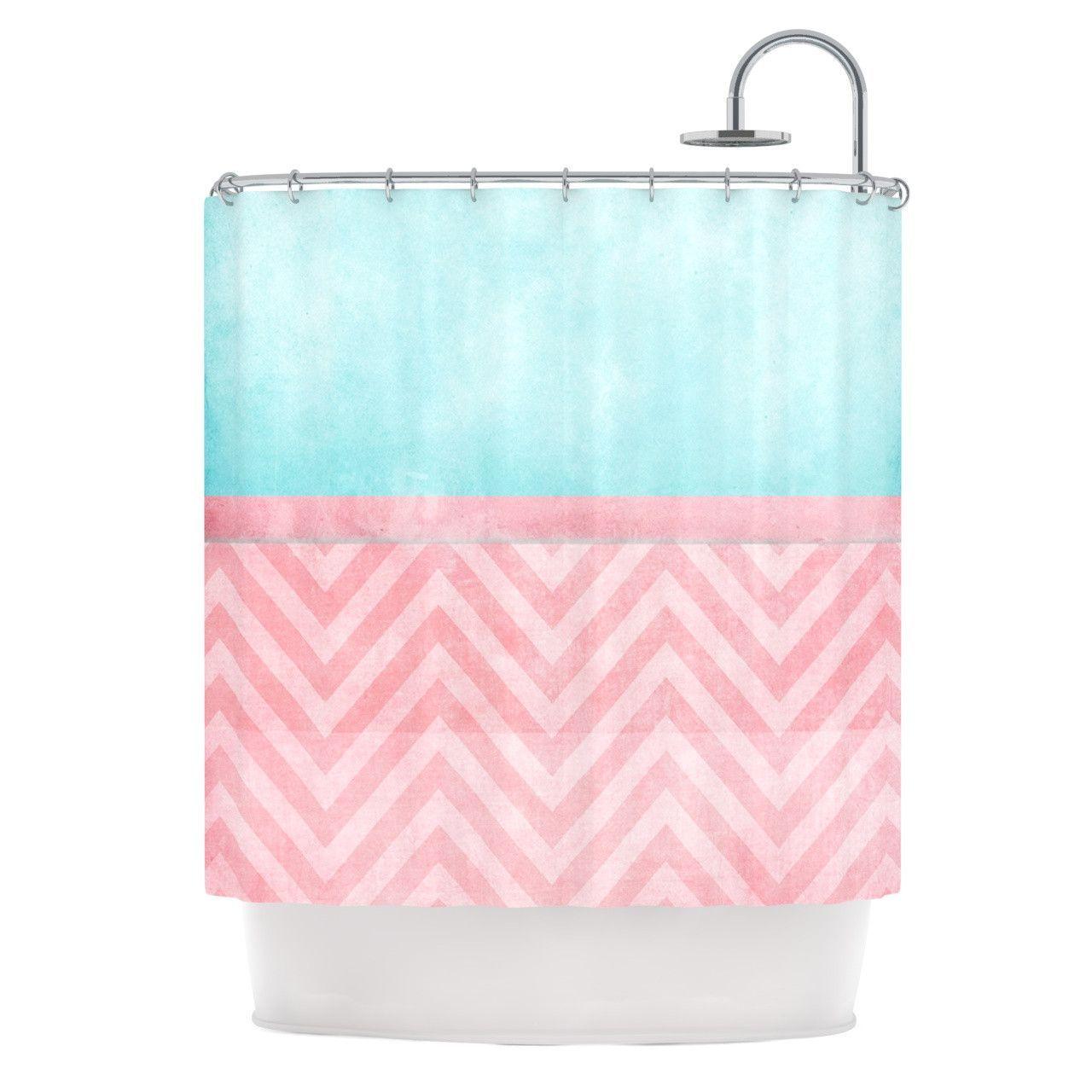 Aqua chevron shower curtain - Ingrid Beddoes Light Chevron Pink Turquoise Blush Aqua Shower Curtain