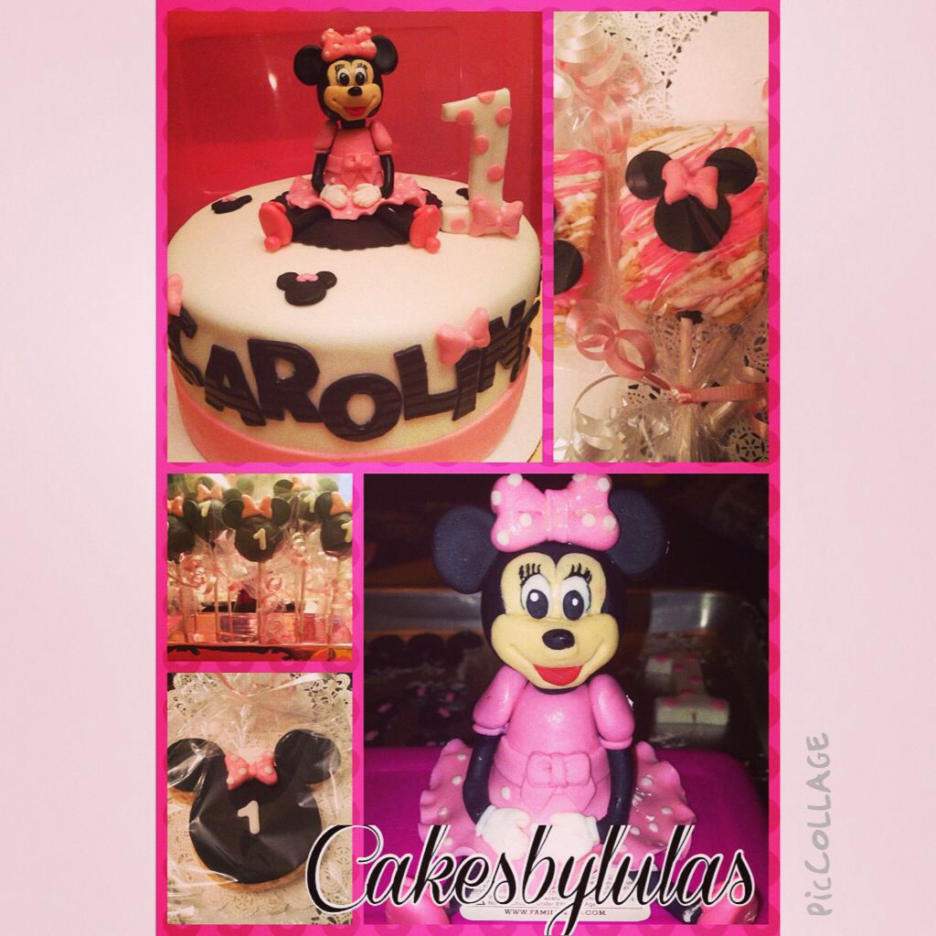 Minnie mouse cake with fondant minnie cakepops and rice