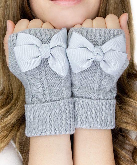 Gertie & Baxter Gray Bow Wool-Blend Fingerless Mittens