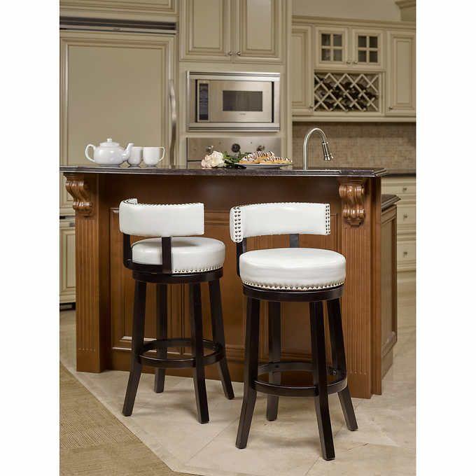 Nia White Swivel Barstool 2 pack Costco counter stool