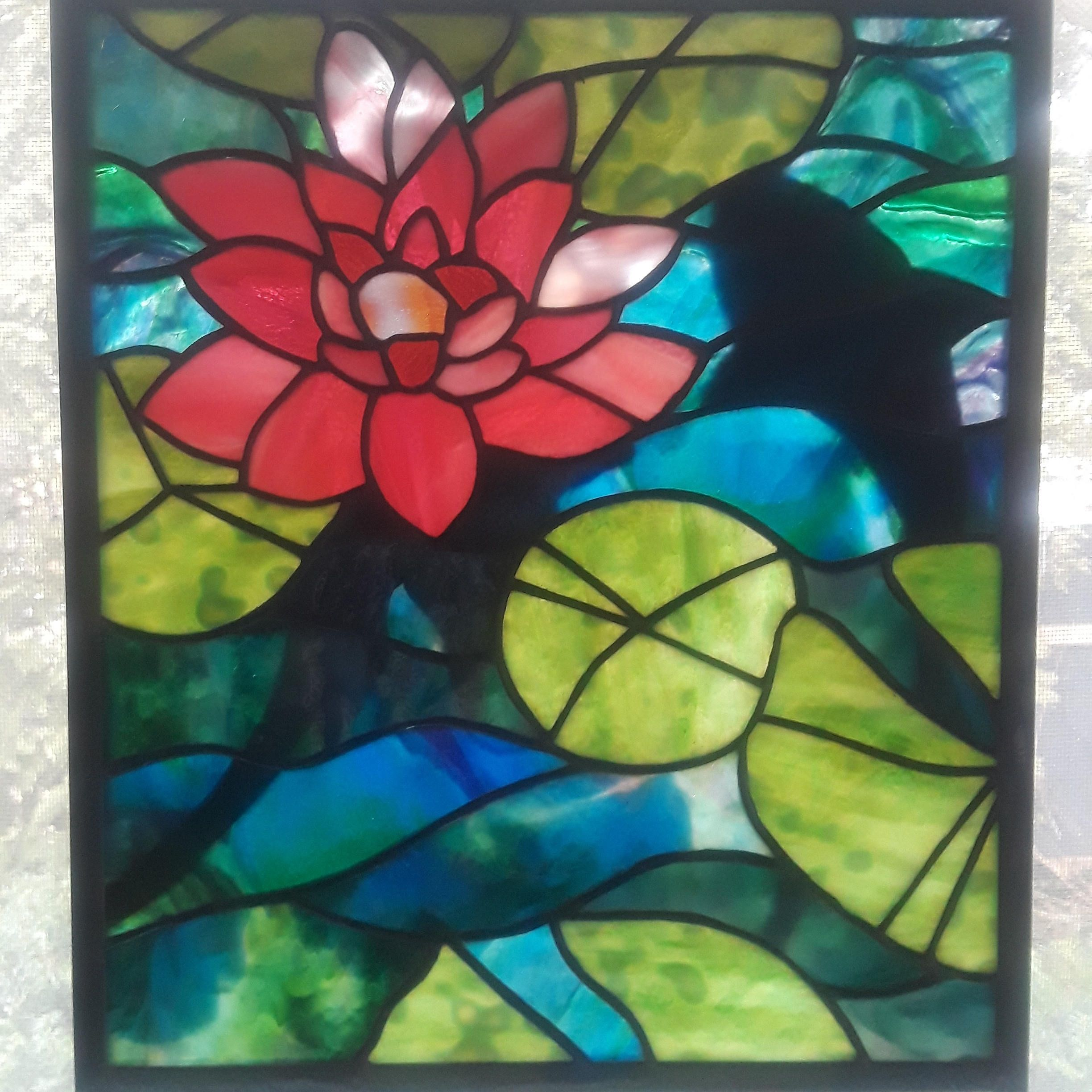 Waterlilly Stained Glass Panel