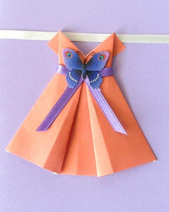 Super Cartolina Origami abito arancione, Cartolina e busta postale IX24