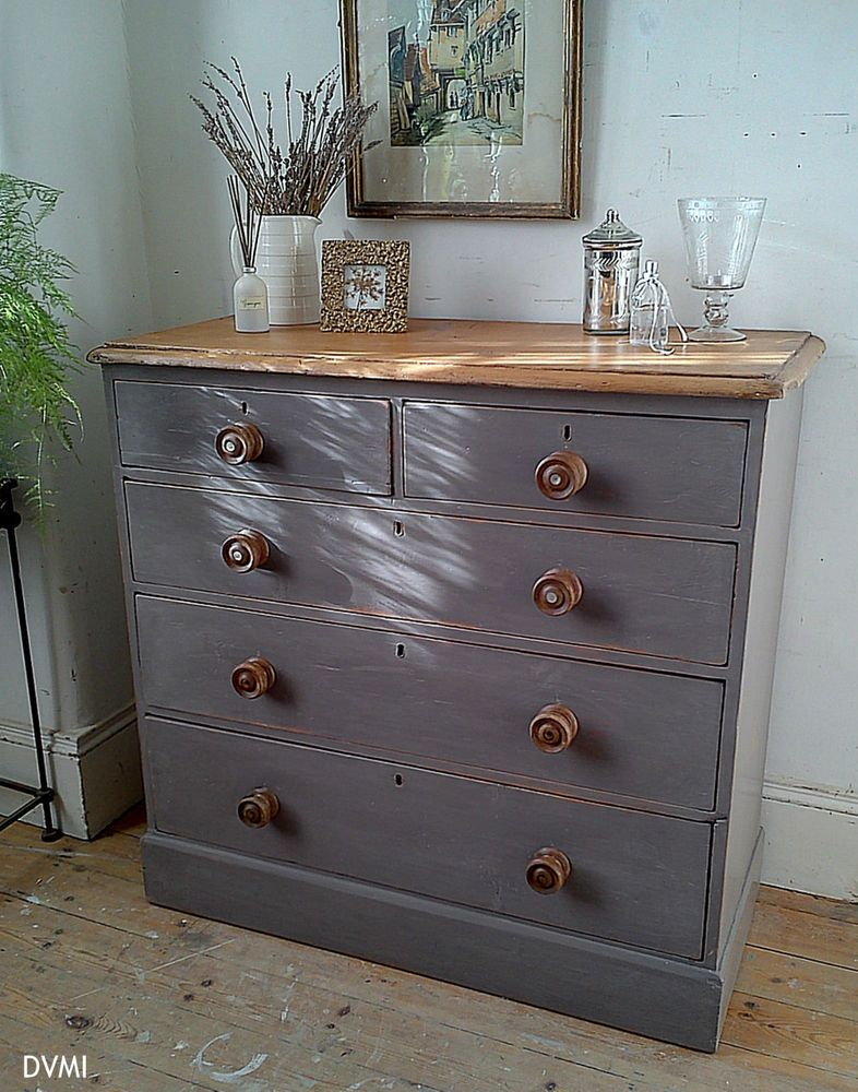 Lovely Painted Antique Pine Shabby Chic Chest Of Drawers Shabby