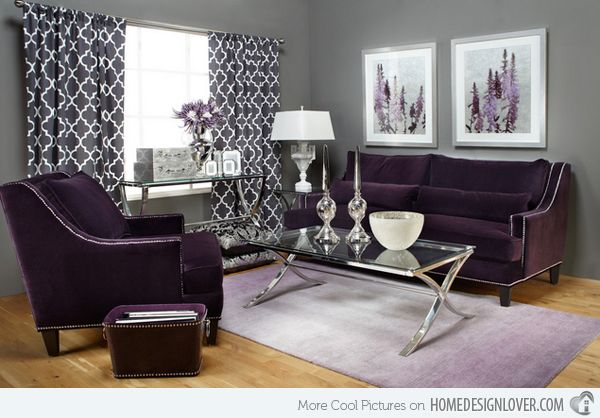 15 Catchy Living Room Designs with Purple Accent