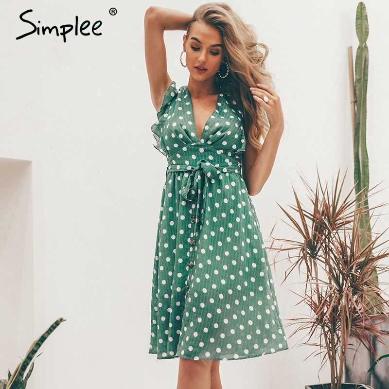 4b11fb8e20c Simplee Sexy V образным вырезом в горошек зеленое Летнее платье Женщины  2019 повседневное рюшами платье элегантное