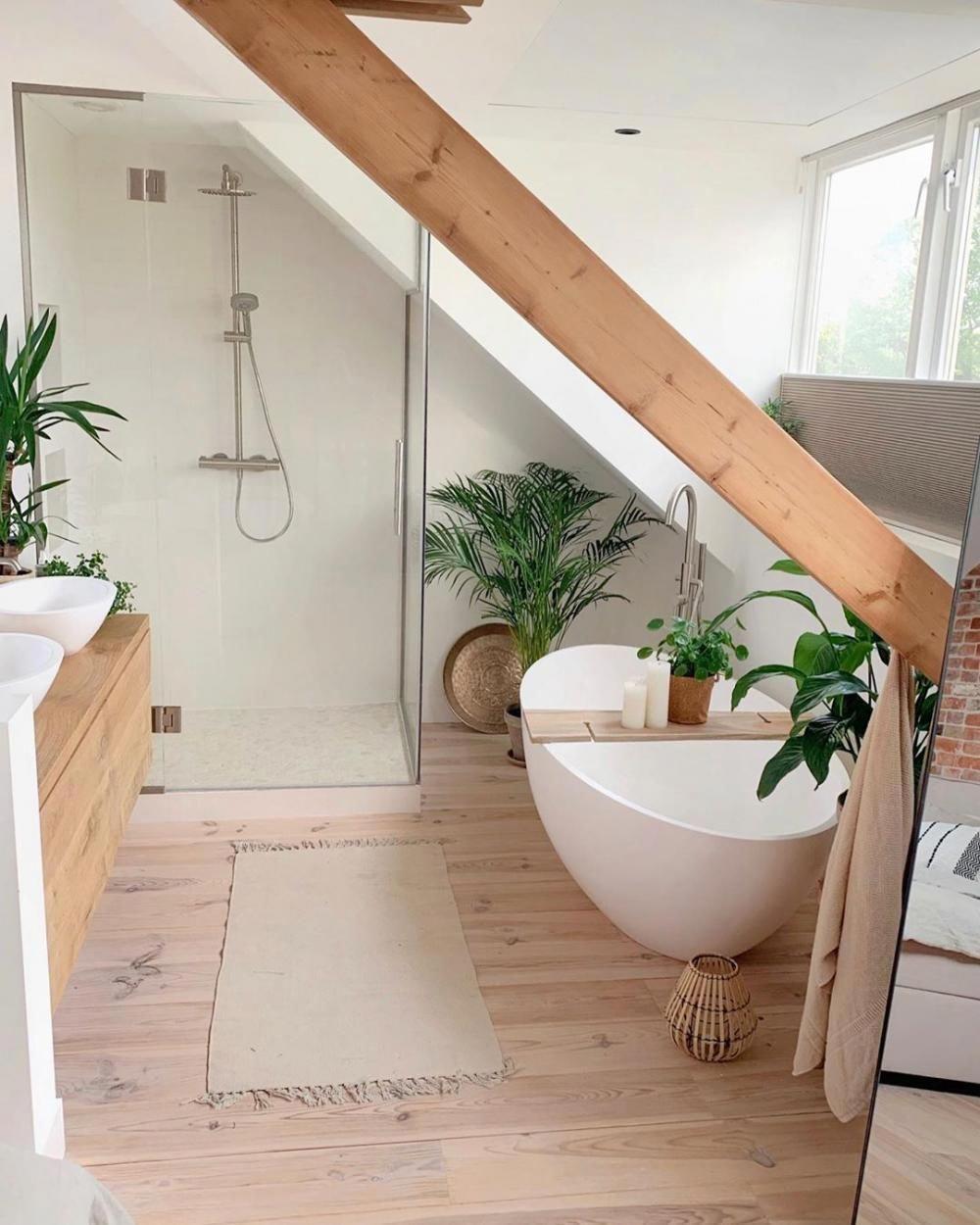 Photo of Sie können Ihrem Badezimmer auch einen botanischen Touch mit Pflanzen und Holz …