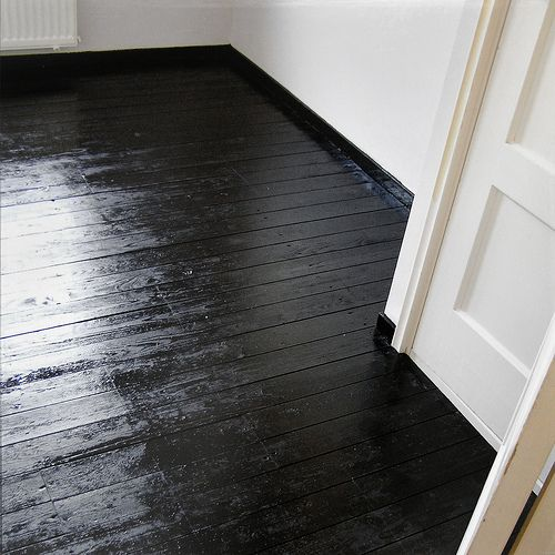 Painting Wooden Floors: High Gloss Black Floor- In 2019