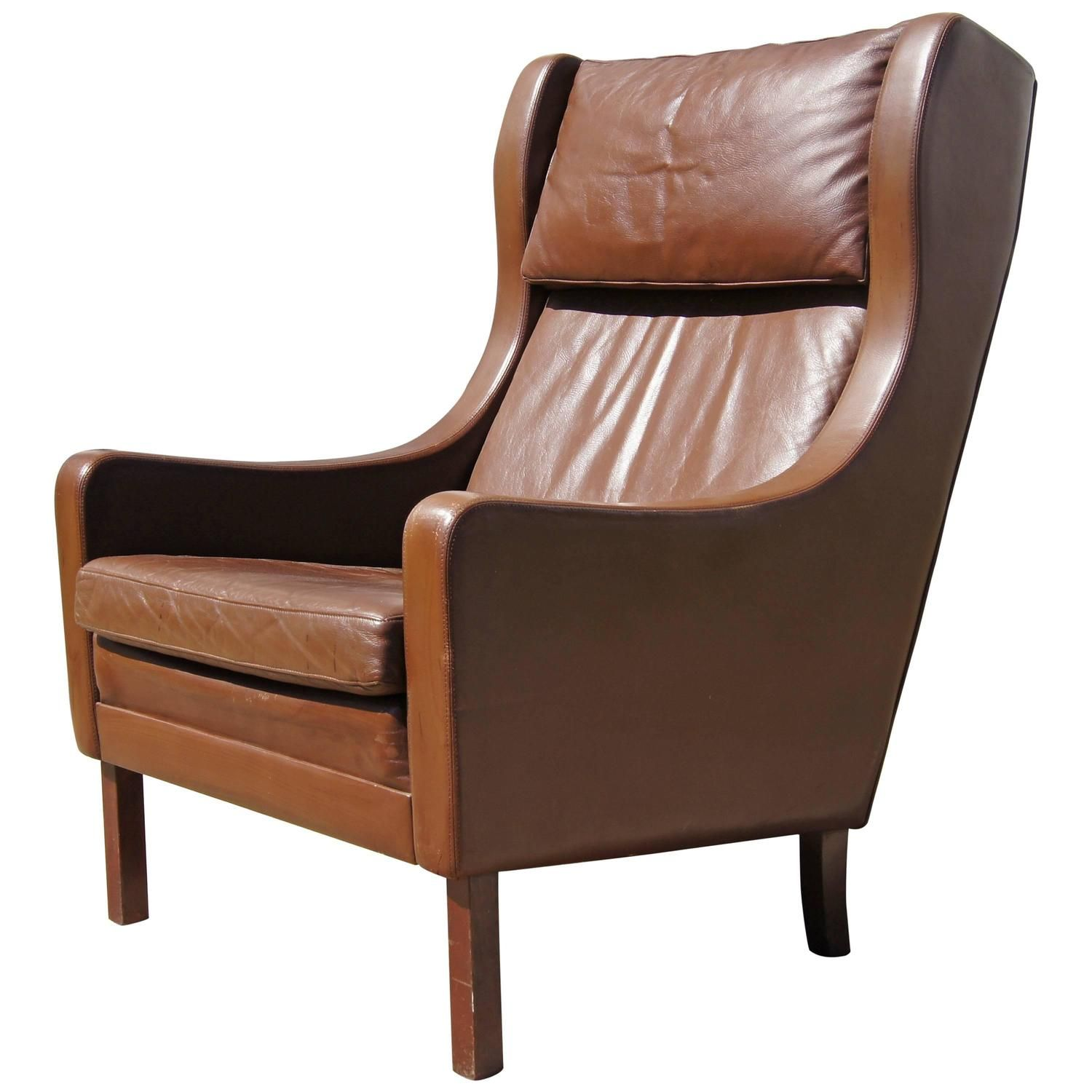 Brown Leather Highback Armchair After Borge Mogensen Leather Armchair Modern Vintage Leather Armchair Modern Leather Lounge Chair