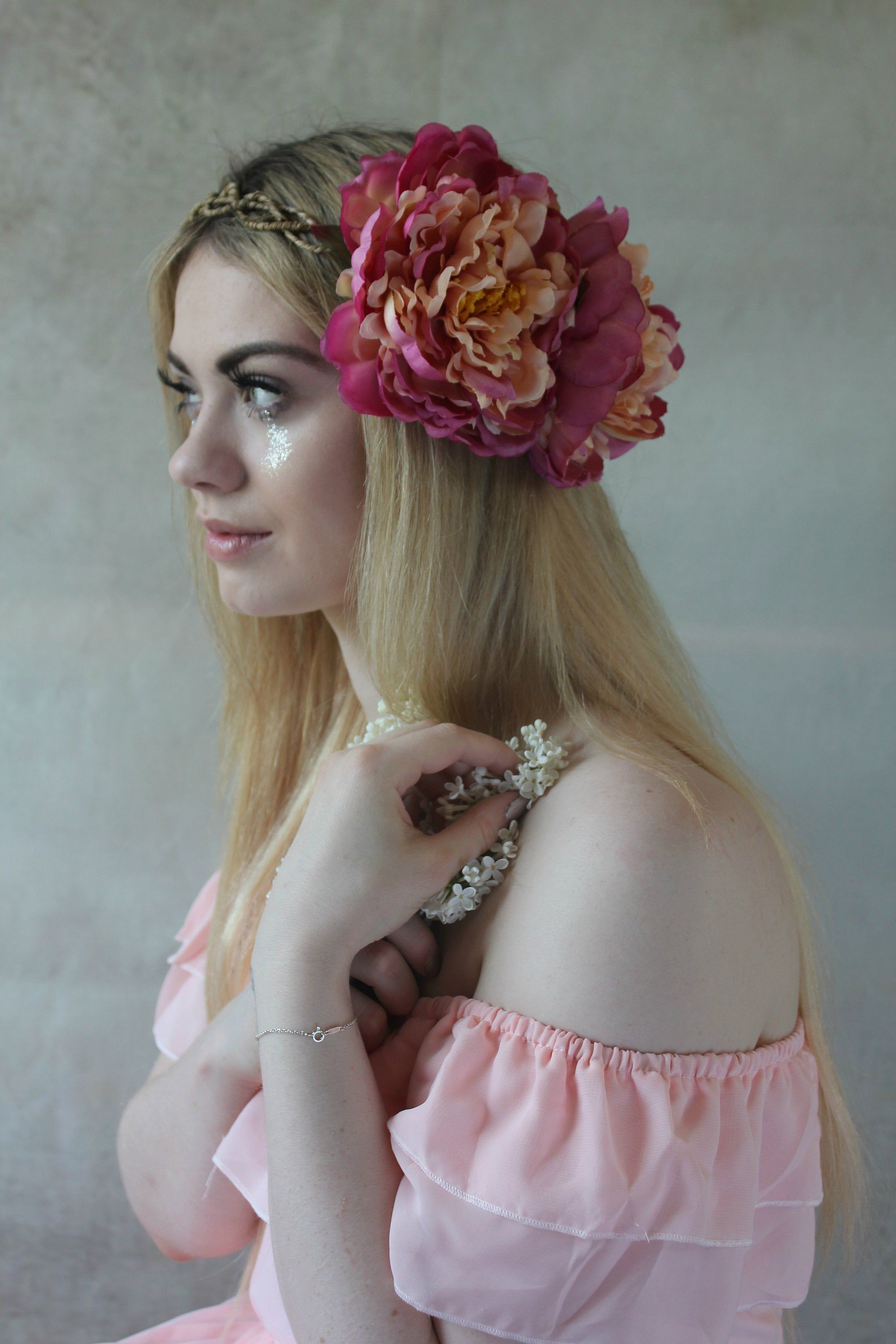 Large pink flower crown, flower garland, races hairpiece