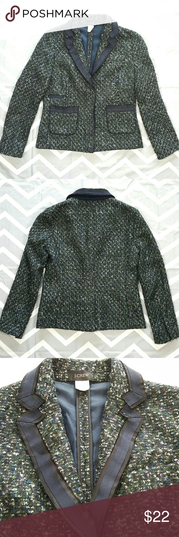J.Crew tweed blazer jacket Pre-owned good used condition, maybe some light fuzziness due to material, really nothing bad (hope you're able to see in pictures) Has snap button closure on front and sleeves, 2 pockets, slit on back. J. Crew Jackets & Coats Blazers