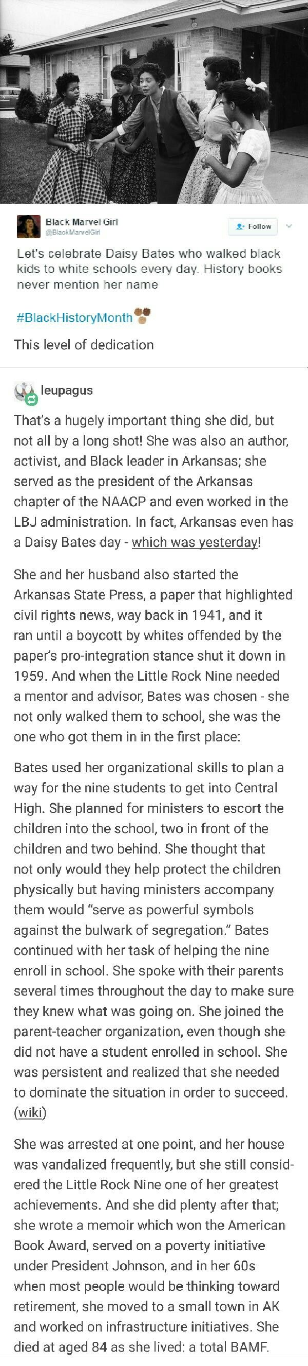 Photo of Daisy Bates, everyone, one of history's many heroes. She was their legal repre…