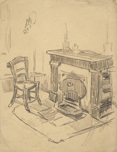 Chair By A Fireplace Saint Remy De Provence April May 1890 Vincent Van Gogh 1853 1890 Pencil Chalk O Van Gogh Drawings Van Gogh Art Vincent Van Gogh