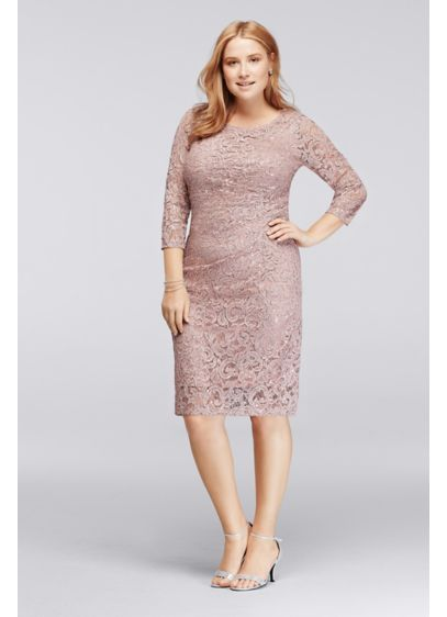 Plus Size Sequin Lace Dress With 34 Sleeves 292948 Wedding