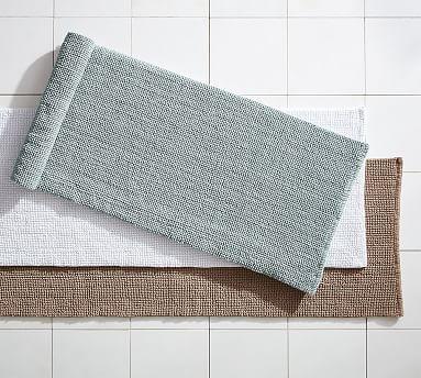 Textured Organic Cotton Bath Rug 24x64 Dark Porcelain Blue