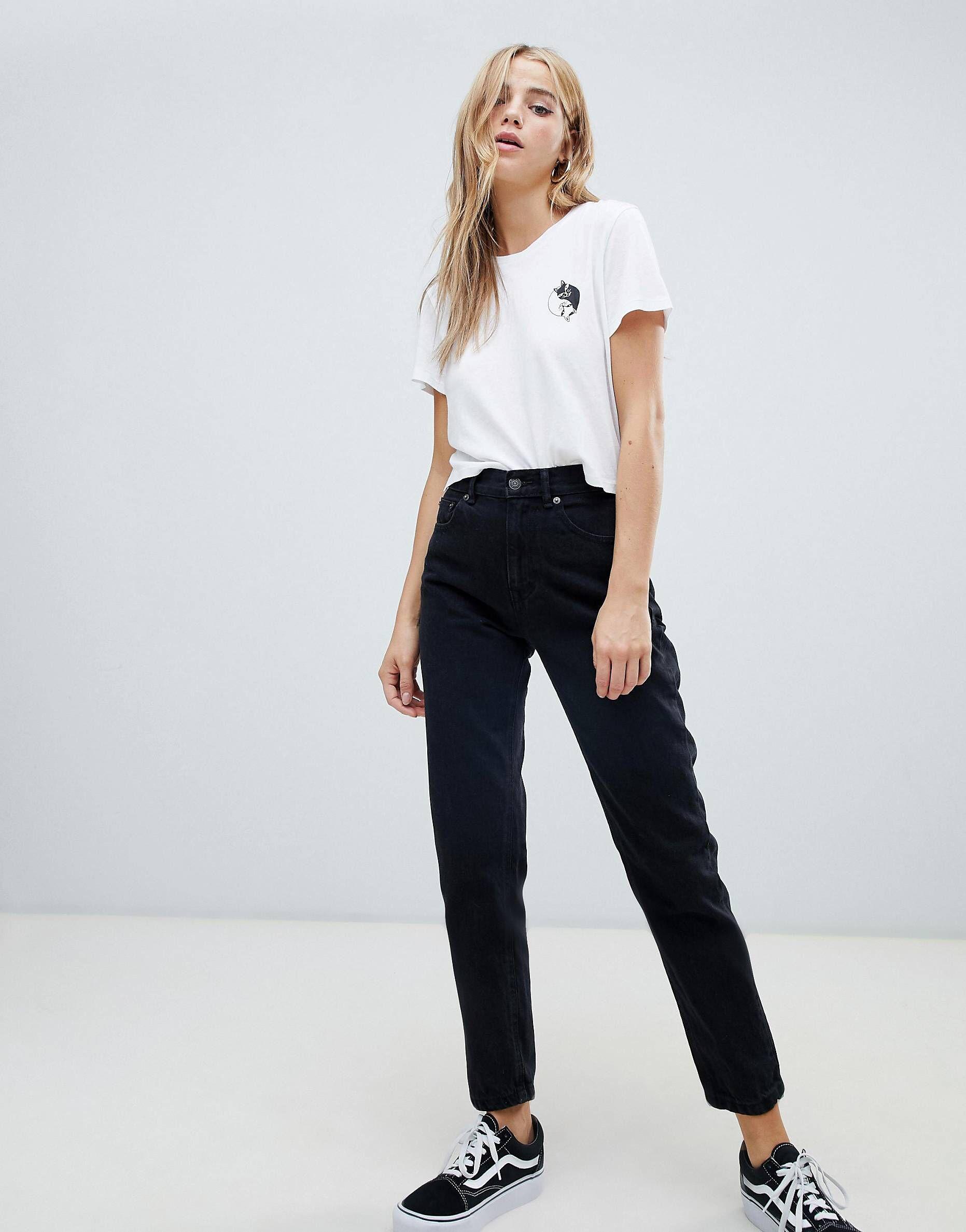 Pull\u0026Bear classic mom jean in black in 2019