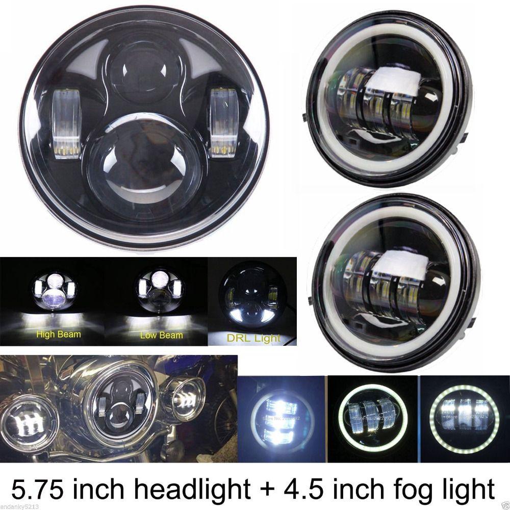 7 LED Projector Daymaker Headlight 4.5 Passing Lights Ring Bracket for Harley for Harley Davidson Electra Glide Standard FLHT 1995-2009
