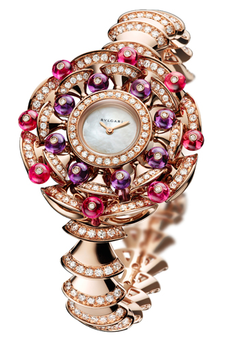Bulgari, High Jewellery watch with 18 ct pink gold case and bracelet (approx. 97.7 gr) set with 366 diamonds (358 brilliant-cut and 8 round-cut, totalling approx. 7.51 carats), 38 tourmalines (30 square-cut and 8 round-cut) and 16 turquoises. Quartz movement customised for Bulgar