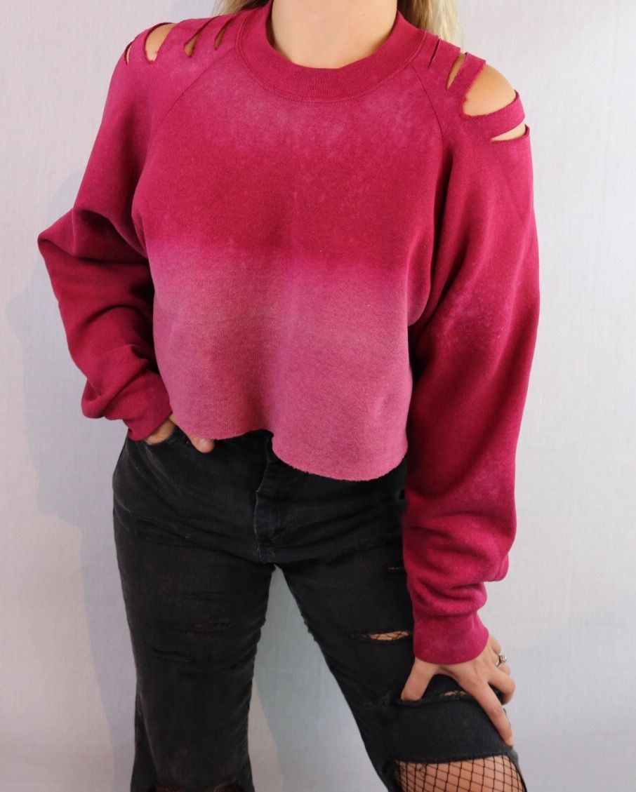 Custom bleach and distressed red cropped sweatshirt edgy
