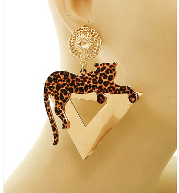 3 inch Crazy cool leopard print drop earrings featuring leopard on a triangle body hanging from post back stud.  http://www.lolasurbanvintage.net/#!product/zoom12gy/1623932965/loungin...