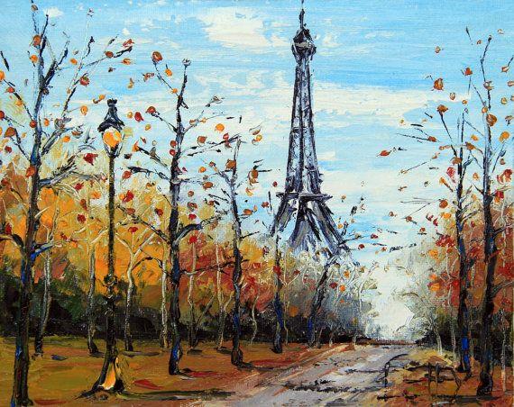 Paris Original Painting, Eiffel Tower, Paris in the Fall ... Eiffel Tower Painting Landscape