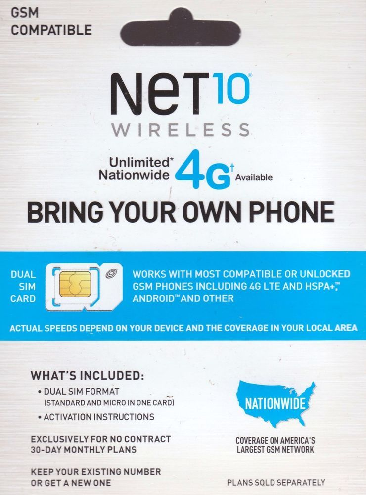 DUAL SIM CARD for NET 10 WIRELESS - GSM COMPATIBLE NET10