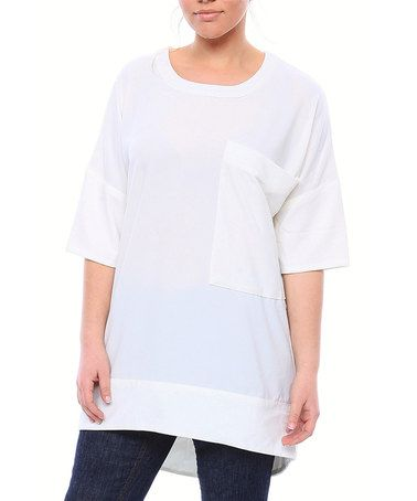 This Off-White Matte Crepe Short-Sleeve Tee - Plus by SVOBODA is perfect! #zulilyfinds