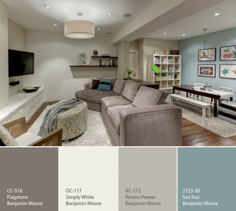 A Calming Palette For A Basement Part 30