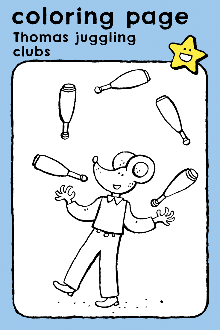 thomas juggling clubs  kiddicolour  coloring pages for